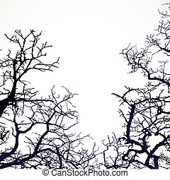 Background with silhouettes of bare branches