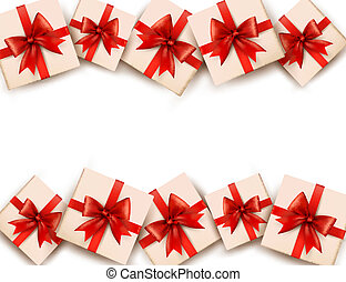 Holiday background with gift boxes and red bows. Vector.