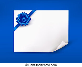 Blue background with sheet of paper and blue gift bow and ribbon. Vector illustration.