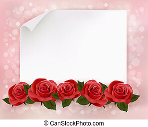 Holiday background with sheet of paper and red flowers....