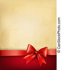 Vintage background with red gift bow and ribbon on old paper...