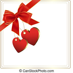 Valentine background with red gift bow and two hearts Vector...