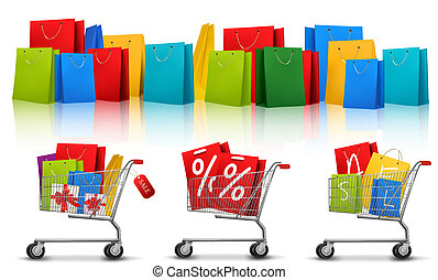 Background with shopping color bags and shopping carts with...