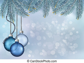 Christmas background with balls and fir branches. Vector...