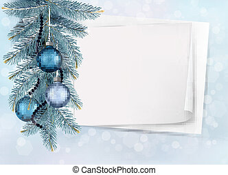 Holiday blue background with Christmas sheet of paper and...