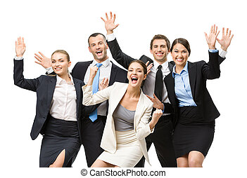 Group of glad managers - Group of happy managers with hands...