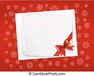 Christmas sheet of paper and red ribbon gift background...