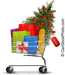 Background with shopping color bags and shopping cart with...