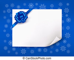 Christmas blue background with sheet of paper and blue bow and ribbon. Vector.