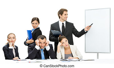 Businessman showing something on screen to the group of...