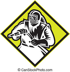 Sandblaster Sandblasting Diamond Retro - Illustration of a...