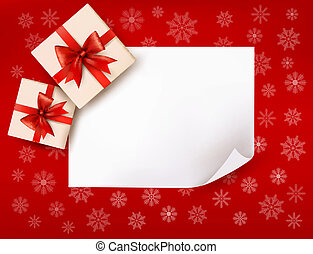 Christmas background with gift boxes and red bow. Vector...