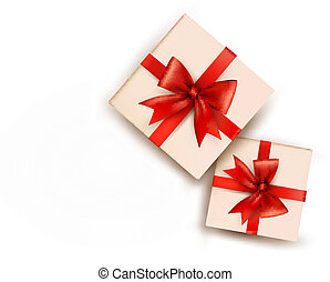 Holiday background with gift boxes with red bow. Vector illustration