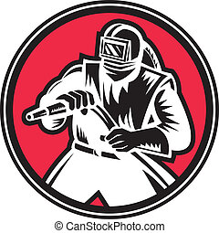 Sandblaster Sandblasting Circle Retro - Illustration of a...