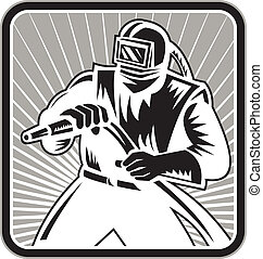 Sandblaster Woodcut Retro - Illustration of a sandblaster...