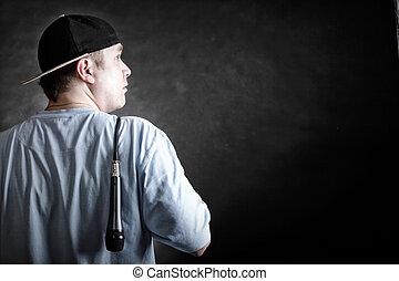 Rap singer rapper man with microphone - Rapper attitude rap...