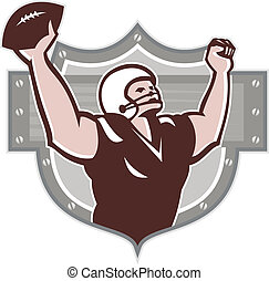 American Football Receiver Touchdown Retro - Illustration of...