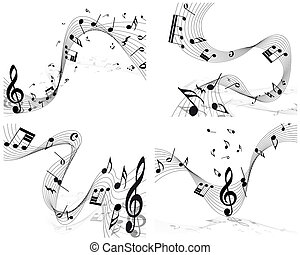 Musical note staff set. EPS 10 vector illustration without...