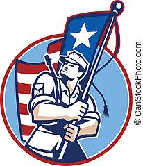 American Patriot Serviceman Soldier Flag Retro -...