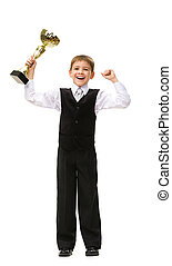 Full-length portrait of little businessman with gold cup