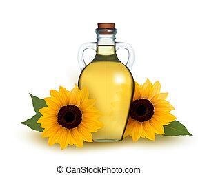 Bottle of sunflower oil with flower. Vector illustration.