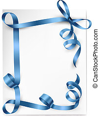 Christmas background with blue gift bow with blue ribbons...