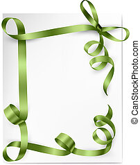 Card with green gift bows with green ribbons and fresh leaves. Vector