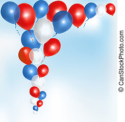 Red, blue and white balloons frame composition with space...