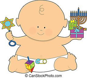 Baby Hanukkah - A baby dressed in a diaper and holding...