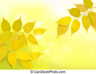 Nature background with autumn yellow leaves . Vector illustration.