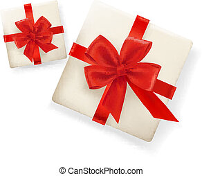Background with gift boxes and red ribbons. Vector illustration