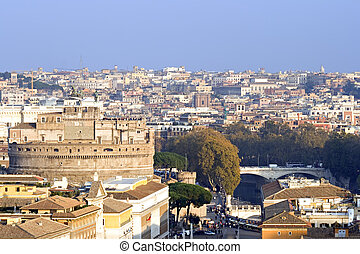 Castel Sant\'Angelo with the city of Rome, Italy in the...