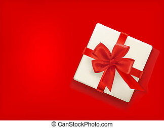 Red background with gift box and red bow. Vector illustration
