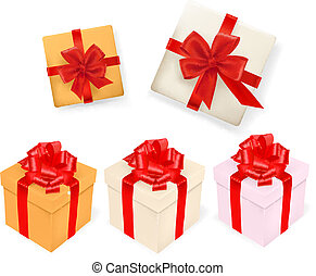 Set of gift boxes with ribbons. Vector illustration.