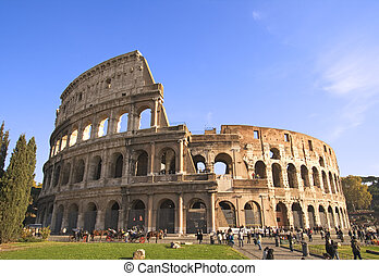 Colosseum Wide Angle - Wide angle view of the Colosseum in...