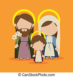 holy family design over yellow background vector...