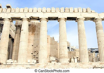 Parthenon Columns - The Parthenon at the Acropolis of Athens...