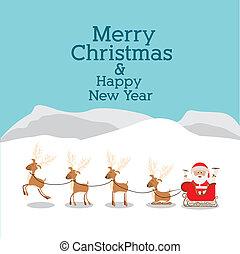 christmas design over landscape background vector...