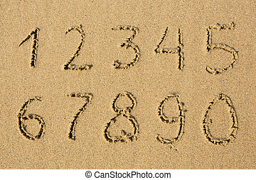 Numbers written on a sandy beach. (from 1 to 0)