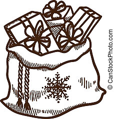 Bag full of presents. Christmas and New year design element...