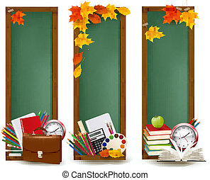 Back to school.Three banners with school supplies and autumn...