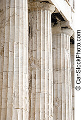 Parthenon Columns - Close up of columns on the Parthenon at...
