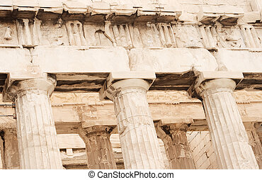 Parthenon Close-up - Close up view of Parthenon columns and...