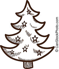 Fir tree with stars Christmas and New year design element...