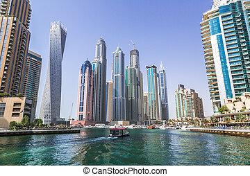 Dubai Marina cityscape, UAE - DUBAI, UAE - NOVEMBER 13:...