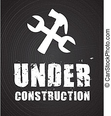 under construction over black background. vector...