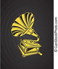 gramophone design over black background vector illustration