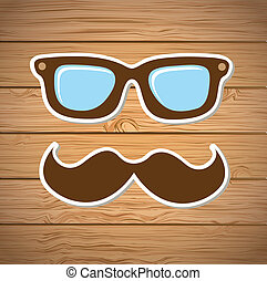 hipster design over wooden background vector illustration