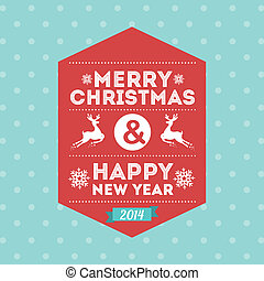 merry christmas and happy new year over dotted background...