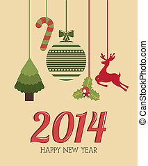 happy new year 2014 over pink background vector illustration...